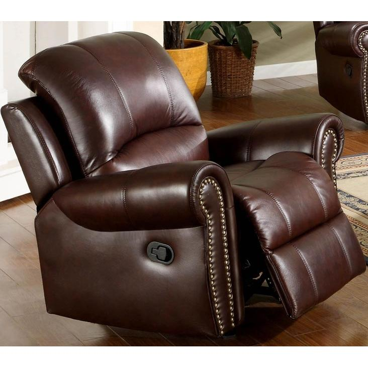 Abbyson Living Broadway Reclining Italian Leather Armchair - CH-8811-BRG-1