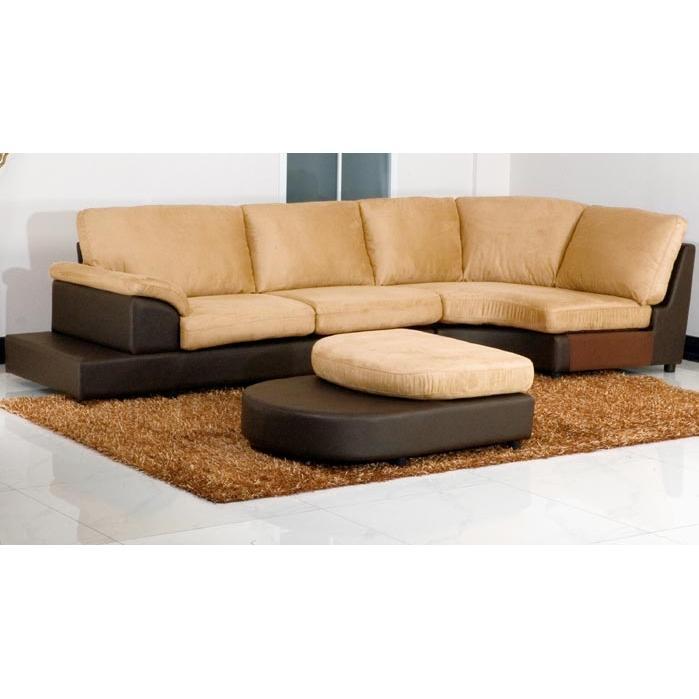 Abbyson Living Casablanca Mocha Microsuede Sectional Sofa Mocha CI-1236-MOC