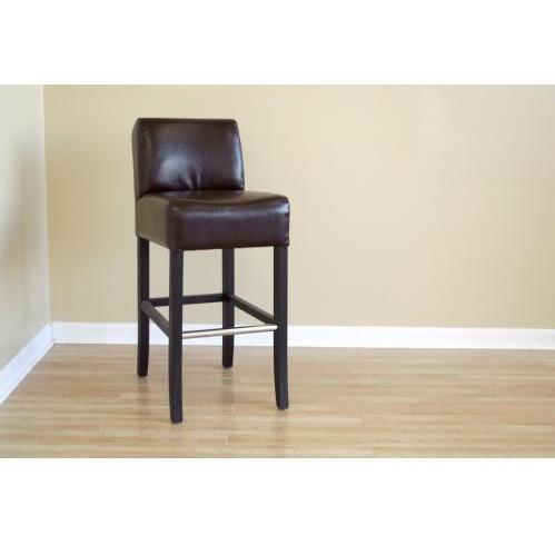 Phiala Leather Low-back Barstool In Dark Brown