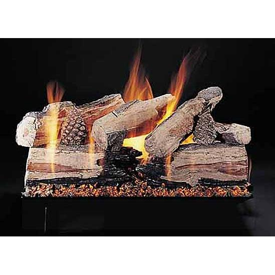 Rasmussen 24 Inch Evening CrossFire Gas Log Set With Vented Natural Gas Custom Embers Pan Burner - Remote Ready Safety Pilot