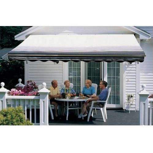 Sunsetter Pro Motorized Awning (16 Ft / Black Stripe) With Traditional Laminated Fabric With Left Mounted Moter And Soffit Bracket