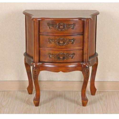 International Caravan Carved Wood Night Stand With 3 Drawers - 3876