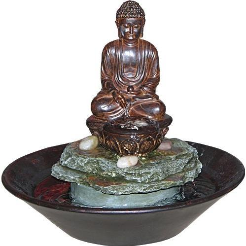 Alpine Garden Buddha Cobblestone Fountain With LED Light