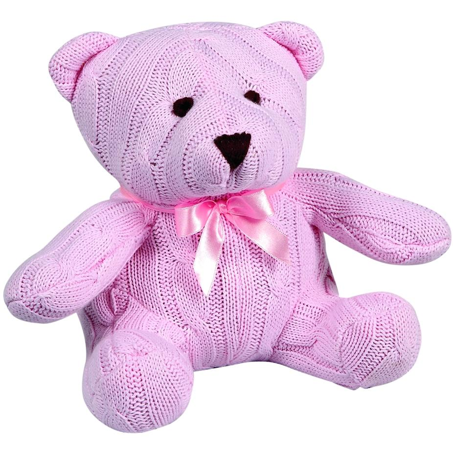 Elegant Baby Knit Teddy Bear - Pink Cable Knit