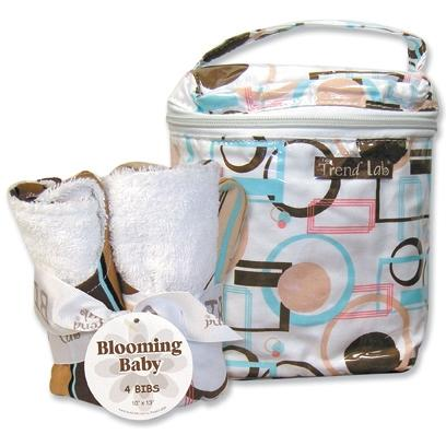 Trend Lab Bottle Bag And Bib Set - Cocoa Dot