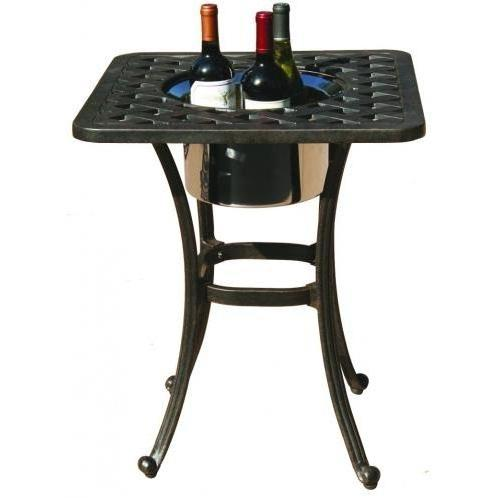 Darlee Series 30 Cast Aluminum Outdoor Patio End Table With Ice Bucket Insert - 21 Inch Square - Antique Bronze