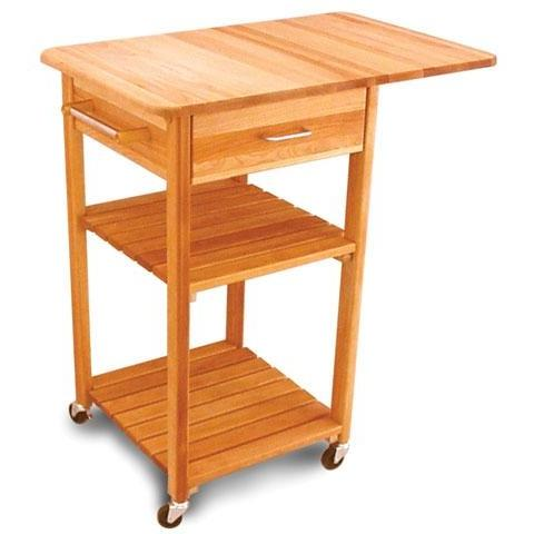Butcher Block Cart W/2 Shelves