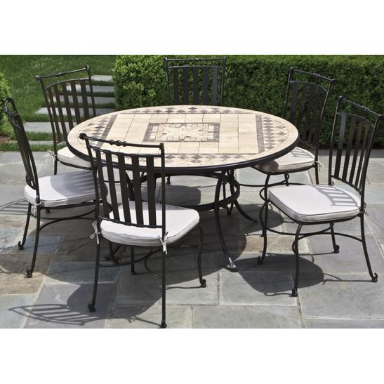 Alfresco Home Basilica 60 Inch Round Dining Table Group