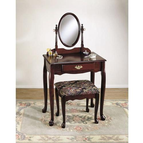Powell Furniture - Heirloom Cherry Vanity, Mirror & Bench (G) - C52
