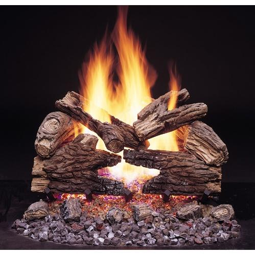Monessen Gas Logs 18 Inch Massive Oak See - Thru Vented Natural Gas Log Set - Millivolt On/Off Remote Ready