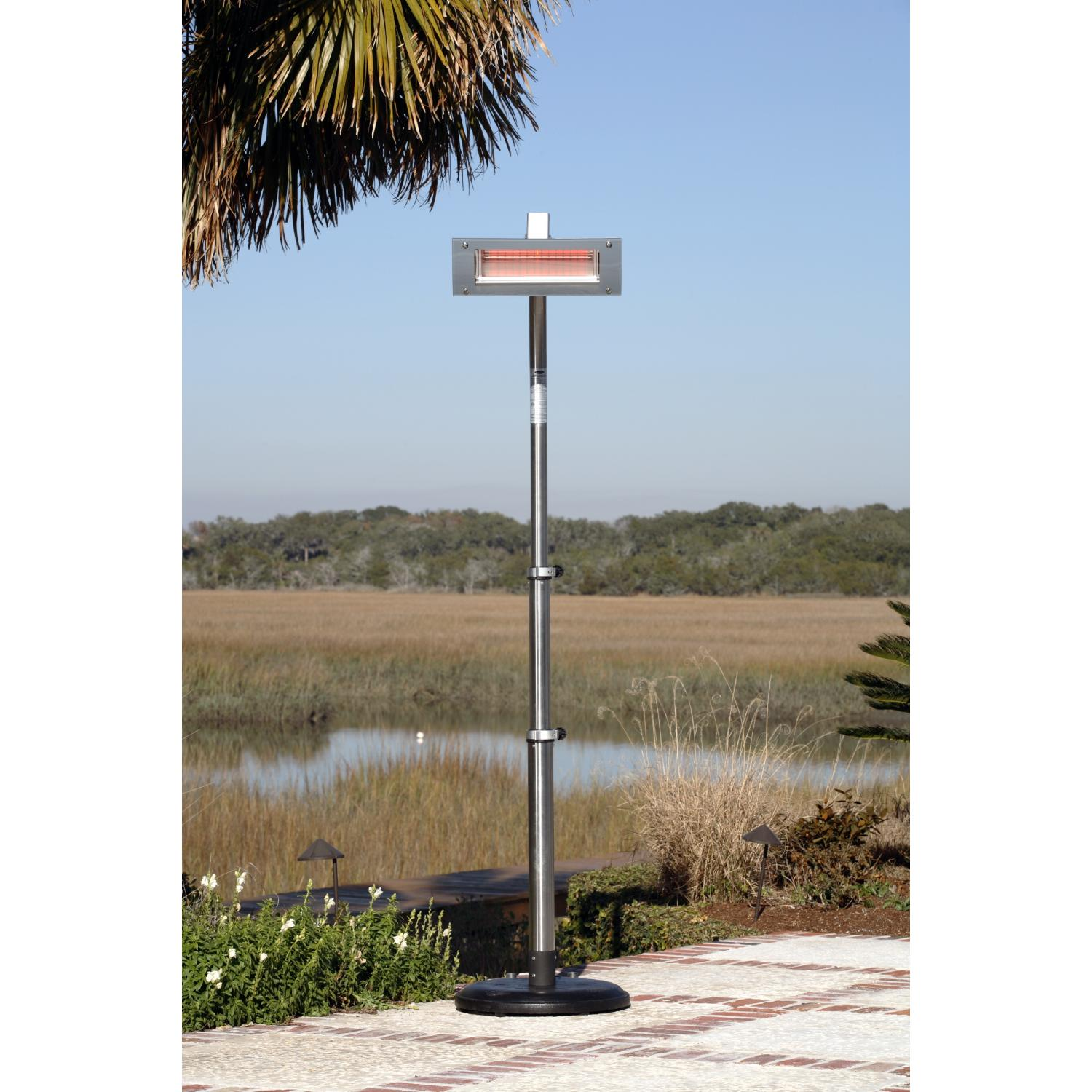 Fire Sense 1500 Watt Electric Infrared Patio Heater With Telescoping Offset Pole And Glass Front / PVC Cover - Stainless Steel