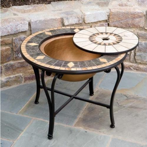 Alfresco Home Compass Outdoor Lounge Table With Fire Pit And Beverage Center - 30 Inch Round
