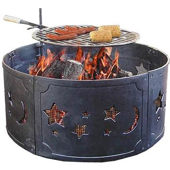Landmann Stars And Moons Black Cast Iron Fire Ring