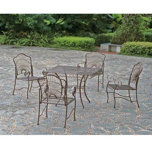 International Caravan S/5 Iron Game Group Patio Dining Set - Bronze - 3483