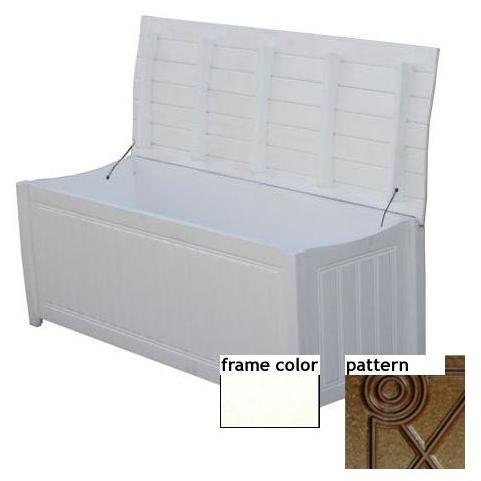 Eagle One Recycled Plastic Brisbane Curved Top Deck Box Diamond Pattern - White