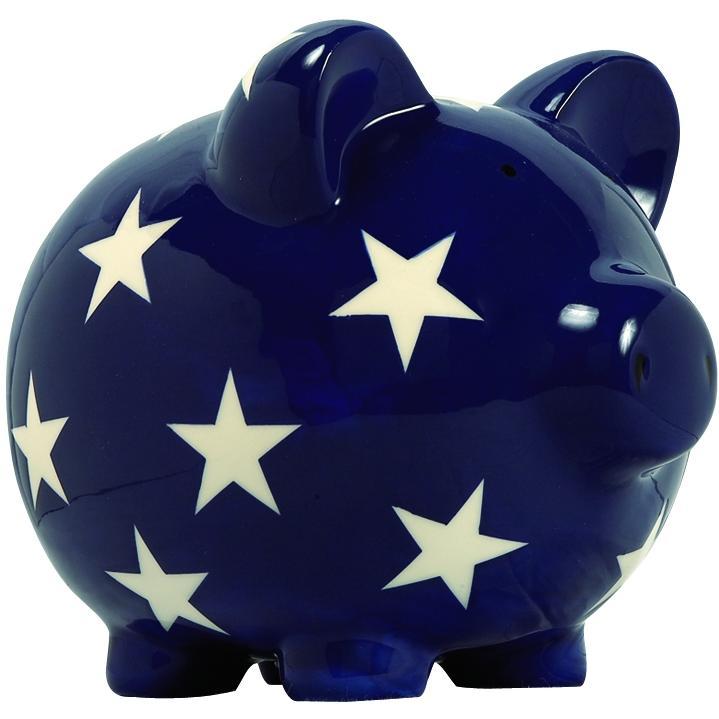 Elegant Baby Classic Piggy Bank - Blue/White Star
