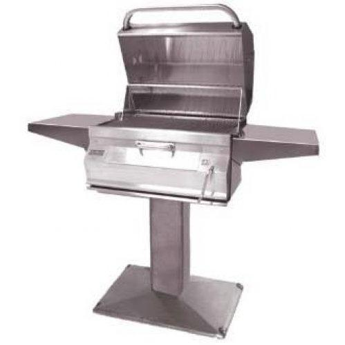 Fire Magic 24 Inch Legacy Smoker Charcoal Grill On Patio Post 22-SC01C-P6
