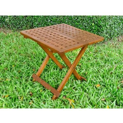 International Caravan Acacia Wood Checkerboard Square Folding Table - Stain - VF-4136