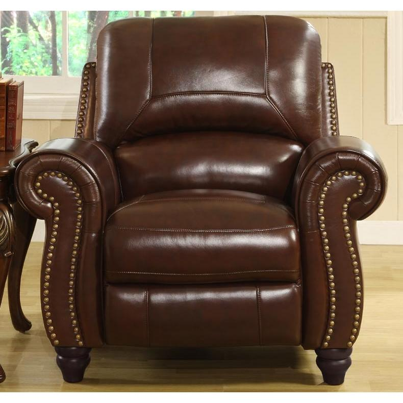 Abbyson Living Madison Leather Pushback Reclining Armchair - \tCH-8857-BRG-1