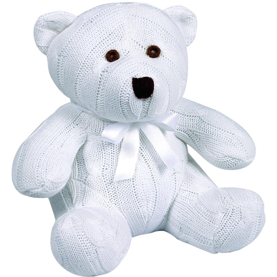 Elegant Baby Knit Teddy Bear - White Cable Knit