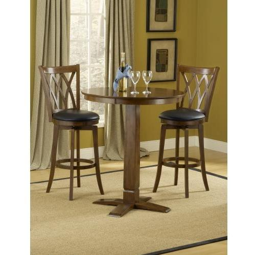 Hillsdale Dynamic Designs 3 Piece Pub Table Set With Mansfield Stools - 4975PTBBRNS2MF