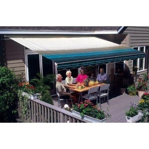 Sunsetter Pro Motorized Awning (16 Ft / Blue Stripe) With Traditional Laminated Fabric With Right Mounted Moter And Soffit Bracket