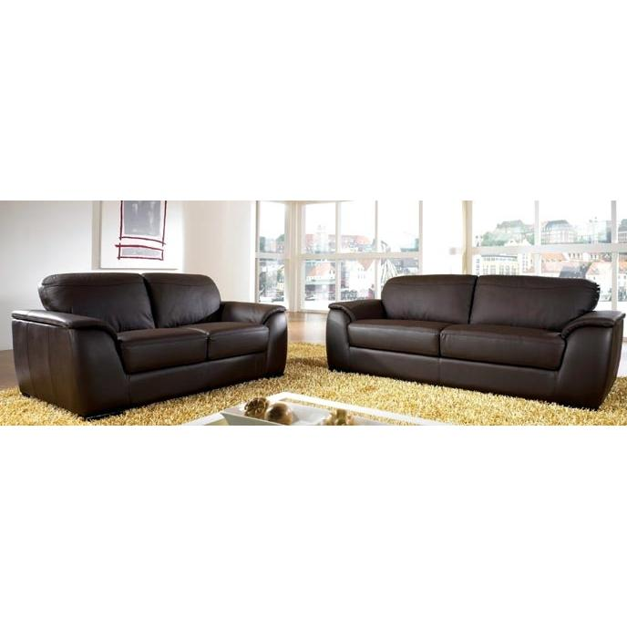 Abbyson Living Berkeley Leather Sofa And Loveseat - Dark Brown FR9550-0810/0820