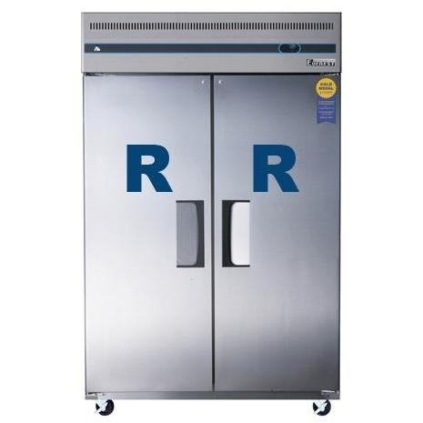 Everest ESR2 48 Cu. Ft. Capacity Dual Solid Door Upright Reach-In Refrigerator - Stainless Steel