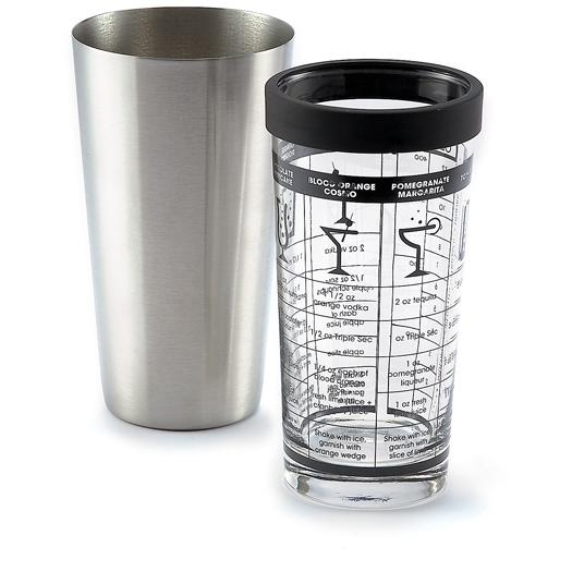 Outset Glass & Stainless-Steel Boston Shaker W/ Recipes