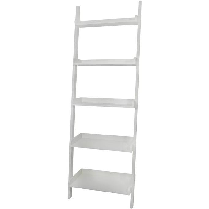International Concepts Dining Essentials 5 Tier Leaning Shelf - Solid Wood - White - SH69-2660