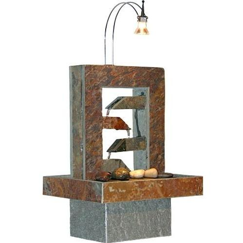 Alpine Natural Slate Stone Fountain With Light