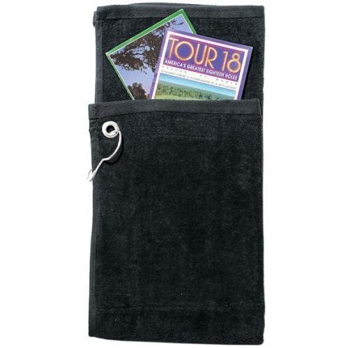 Cobra Caps Bi-Fold Golf Towel With Pocket - Black