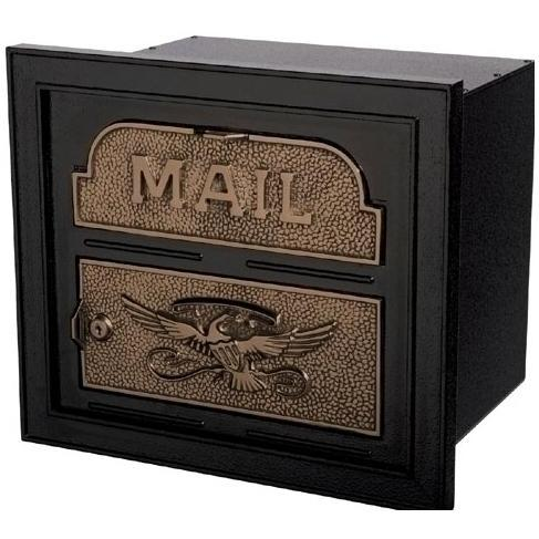 Classic Series High Security Locking Column Mailbox Faceplate - Black W/ Antique Bronze