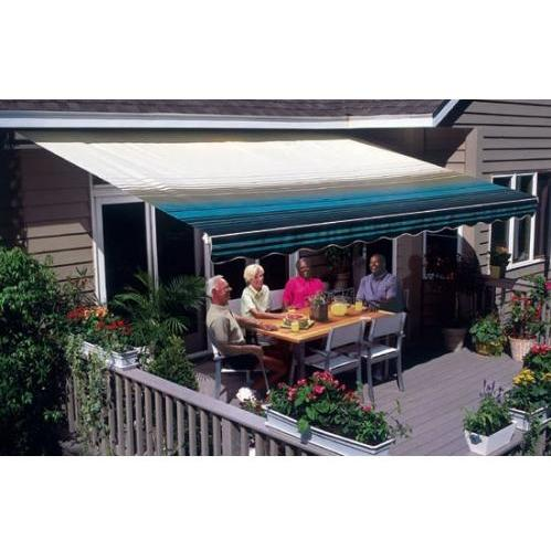 Sunsetter Pro Motorized Awning (12 Ft / Blue Stripe) With Traditional Laminated Fabric With Right Mounted Motor And Wall Bracket