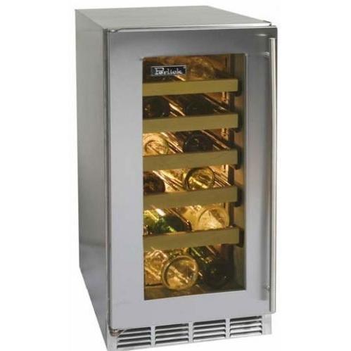 Perlick HP15WS-3R 27 Bottle Freestanding Wine Cooler - Glass Door / Stainless Steel Trim