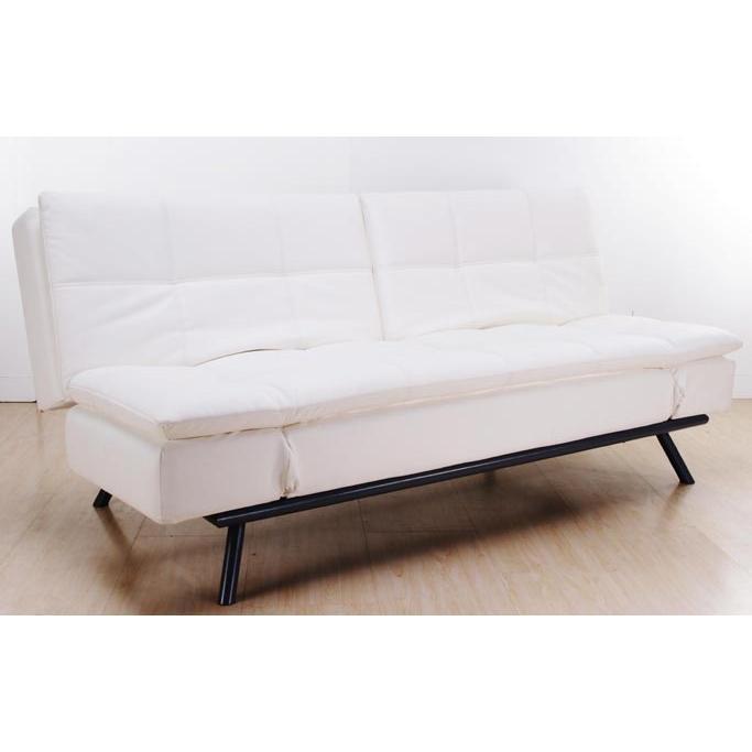Abbyson Living Alpine Leather Convertible Sofa White AD-100L-W