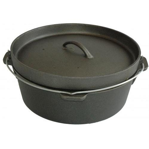 Cajun Cookware Pots Without Legs 4.5 Quart Cast Iron Camp Pot