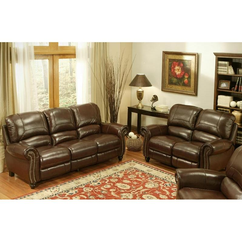 Abbyson Living Madison Leather Pushback Reclining Sofa And Loveseat Set - CH-8857-BRG-3/2