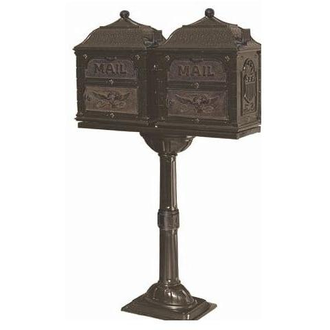 Classic Series Double Mount High Security Locking Mailbox W/ Pedestal - Bronze W/ Antique Bronze