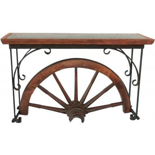 Groovy Stuff Teak Wood Winchester Console Table With Glass Top - TF-668