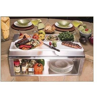 Alfresco Built-In Plating And Garnish Center With Food Pans