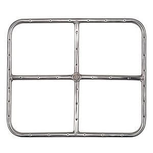 18 X 15 Inch Stainless Rectangular Single Natural Gas Fire Pit Ring