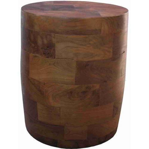 Groovy Stuff Teak Wood Barrel Block Side Table - TF-751