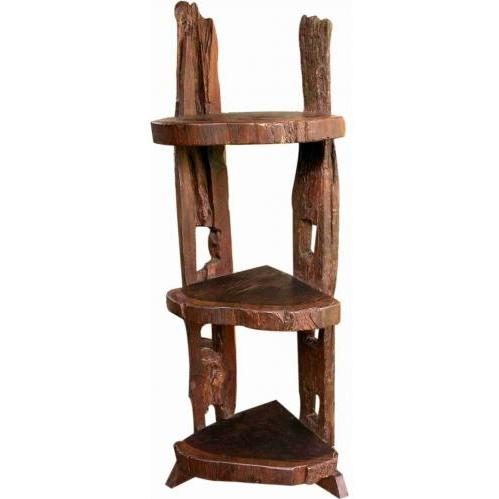 Groovy Stuff Wolf Creek Teak Wooden Corner Shelf - TF-304