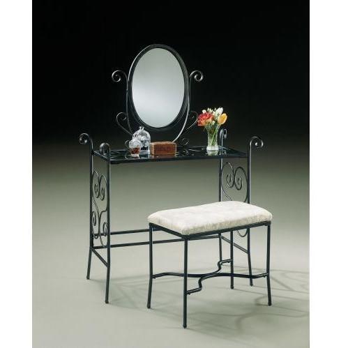 Powell Furniture - Garden District Matte Black Vanity, Mirror & Bench - 935-290