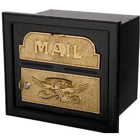 Classic Series High Security Locking Column Mailbox Faceplate - Black W/ Polished Brass
