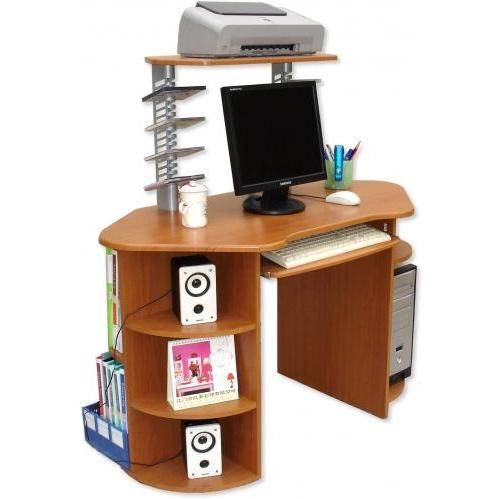 International Caravan Wood Top Desk 3 Lev, CD, Corner Shelf, CPU Std Oak - W-126/DC