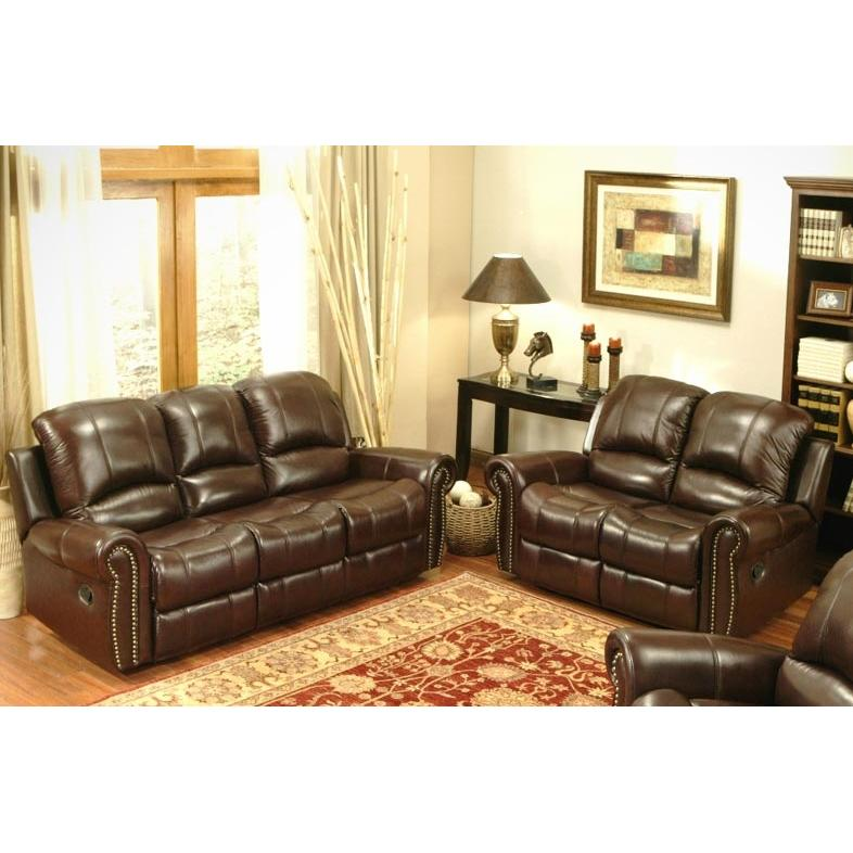 Abbyson Living Broadway Reclining Italian Leather Sofa And Loveseat Set - CH-8811-BRG-3/2