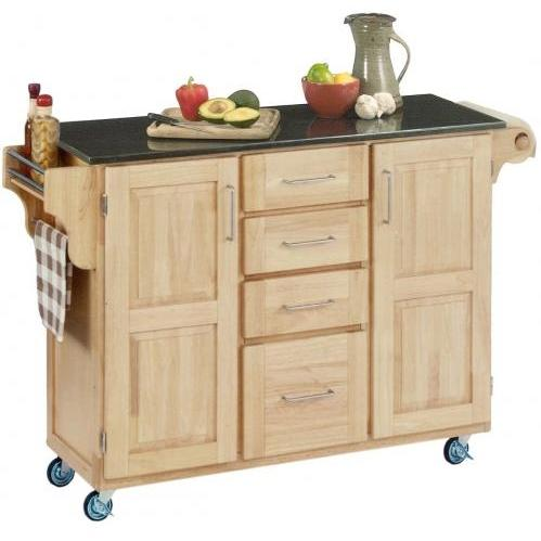Home Styles Large Kitchen Cart With Granite Top - Black/Natural - 9100-1014