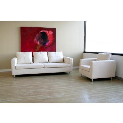 Rhisiart Microfiber 2-pcs Sofa Set In Ivory